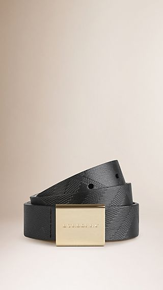 Embossed Check Leather Plaque Buckle Belt