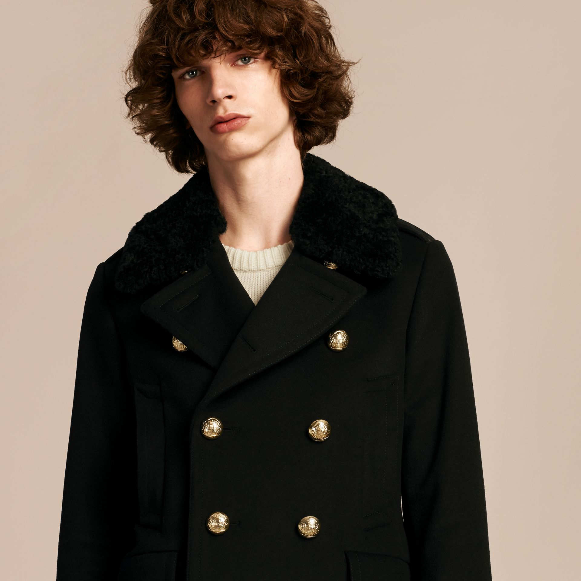 Black Military Pea Coat with Detachable Shearling Collar - gallery image 5