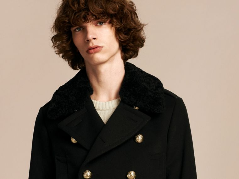 Black Military Pea Coat with Detachable Shearling Collar - cell image 4
