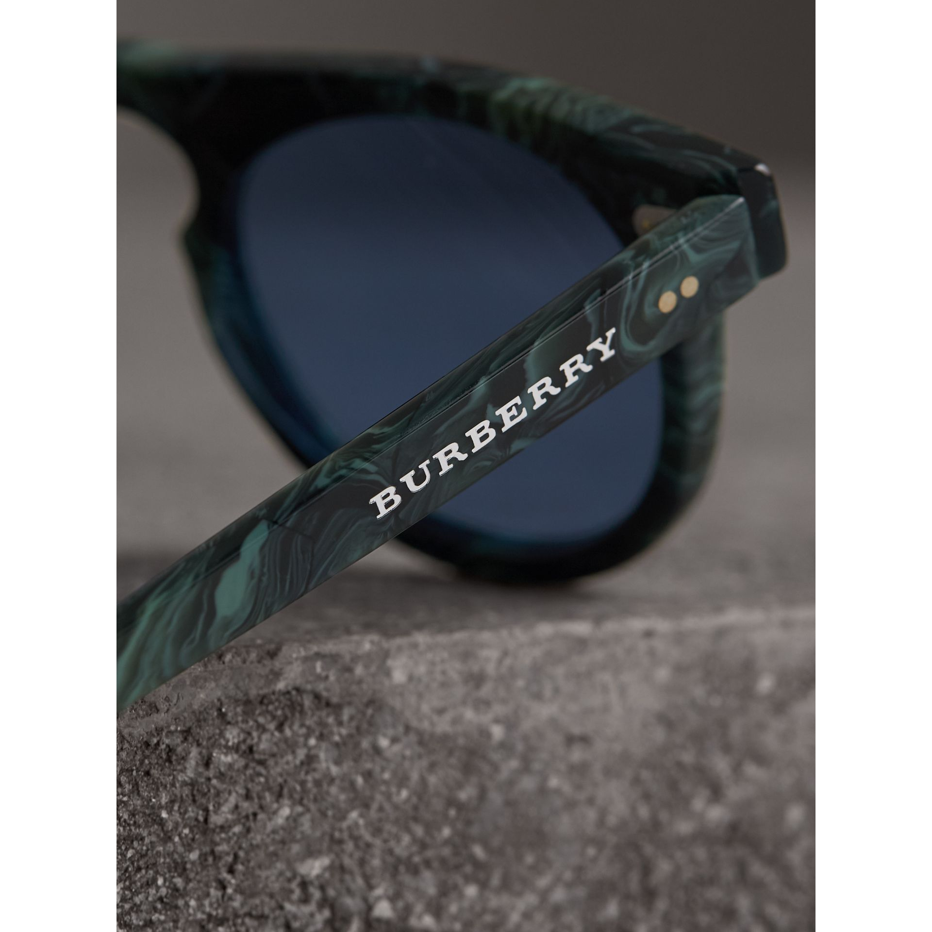 The Keyhole Round Frame Sunglasses in Green Marble/blue | Burberry Singapore - gallery image 1