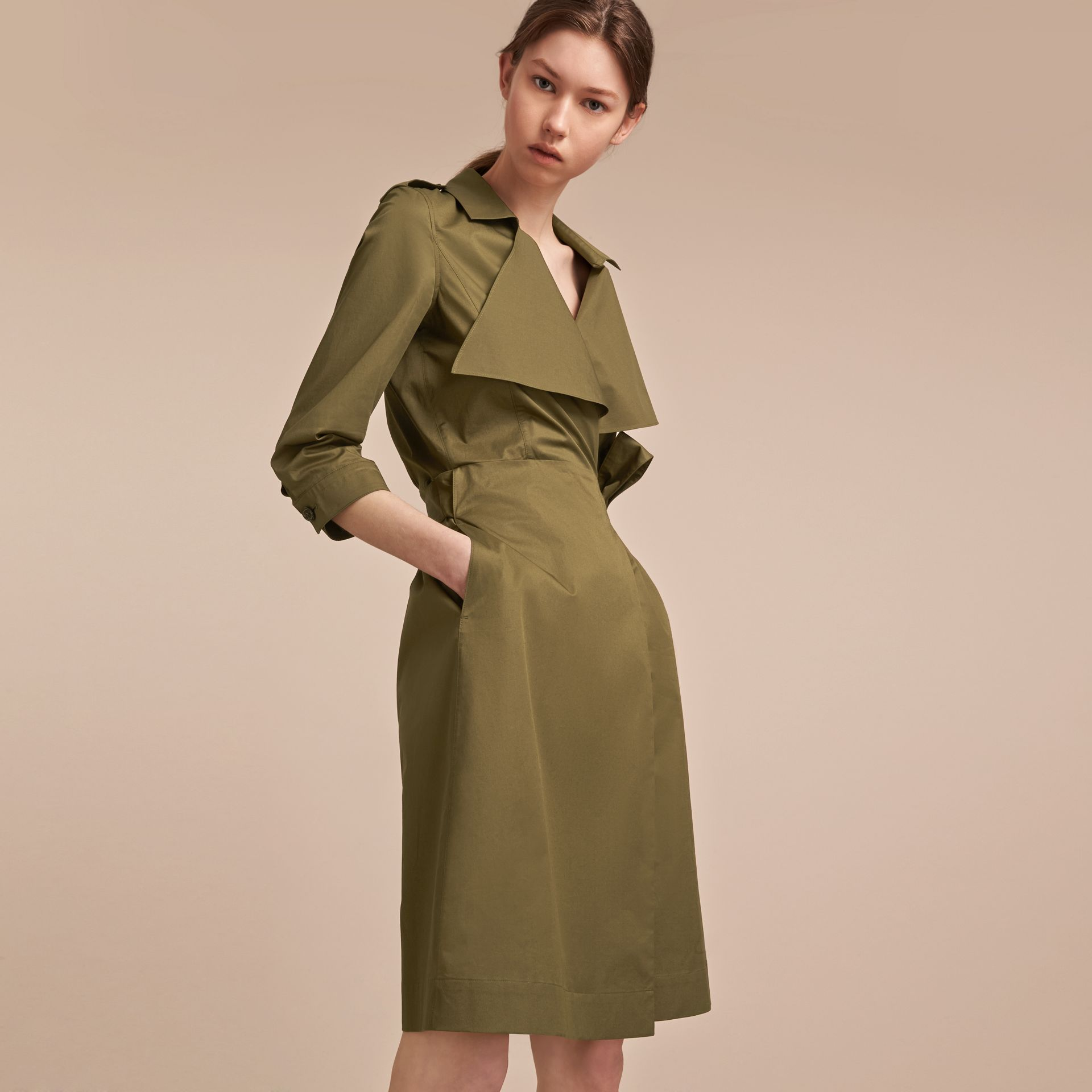 Oversize Lapel Stretch Cotton Trench Dress - gallery image 6