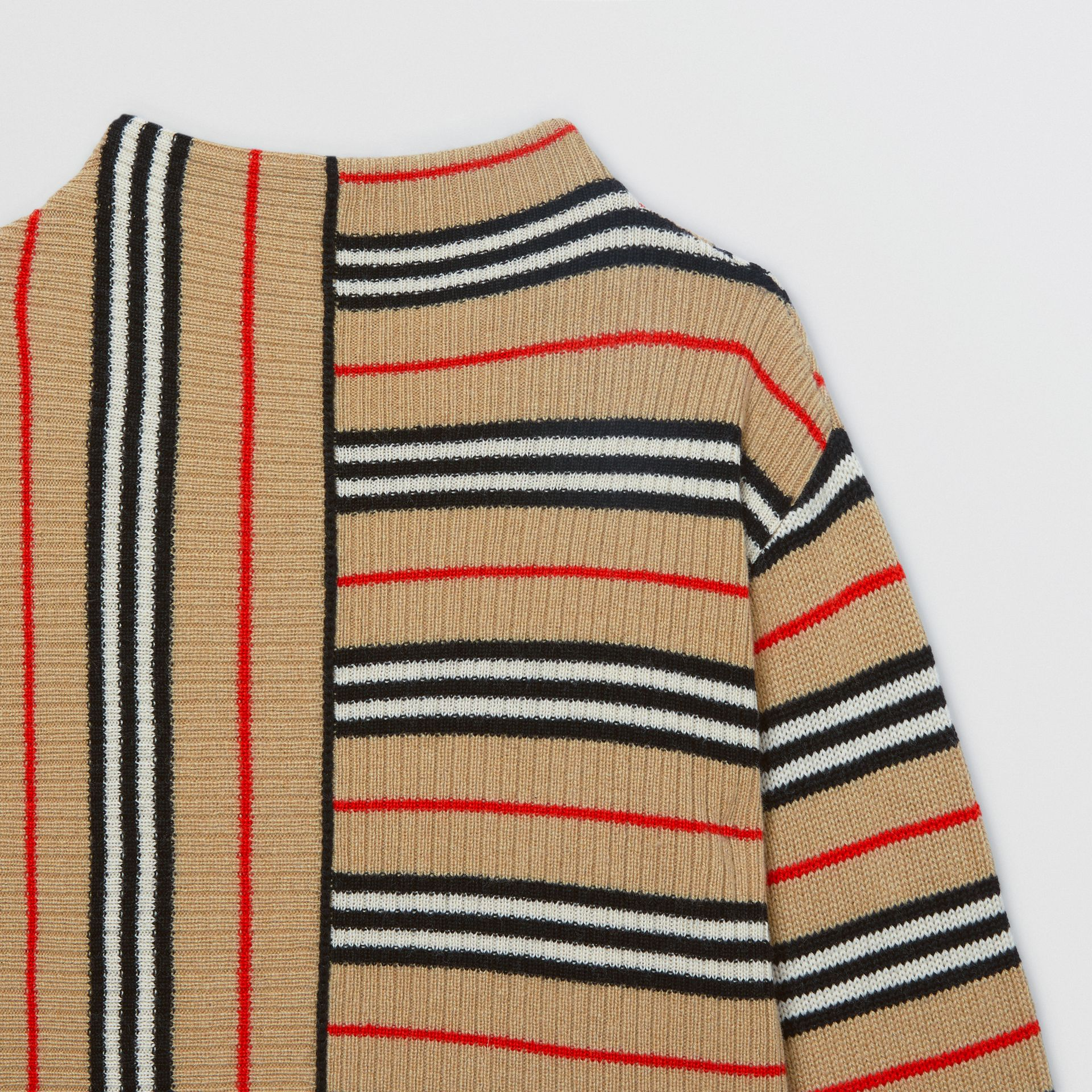Contrast Icon Stripe Cashmere Wool Sweater in Archive Beige | Burberry - gallery image 4