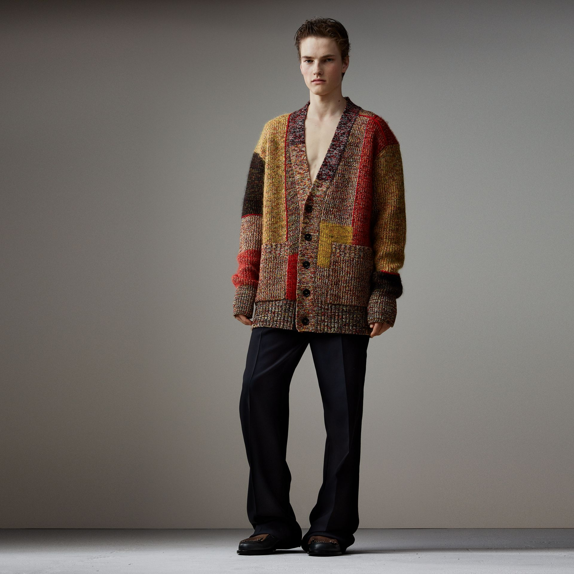 Wool Linen Mohair Blend Mouliné Oversized Cardigan in Multicolour - Men | Burberry - gallery image 0