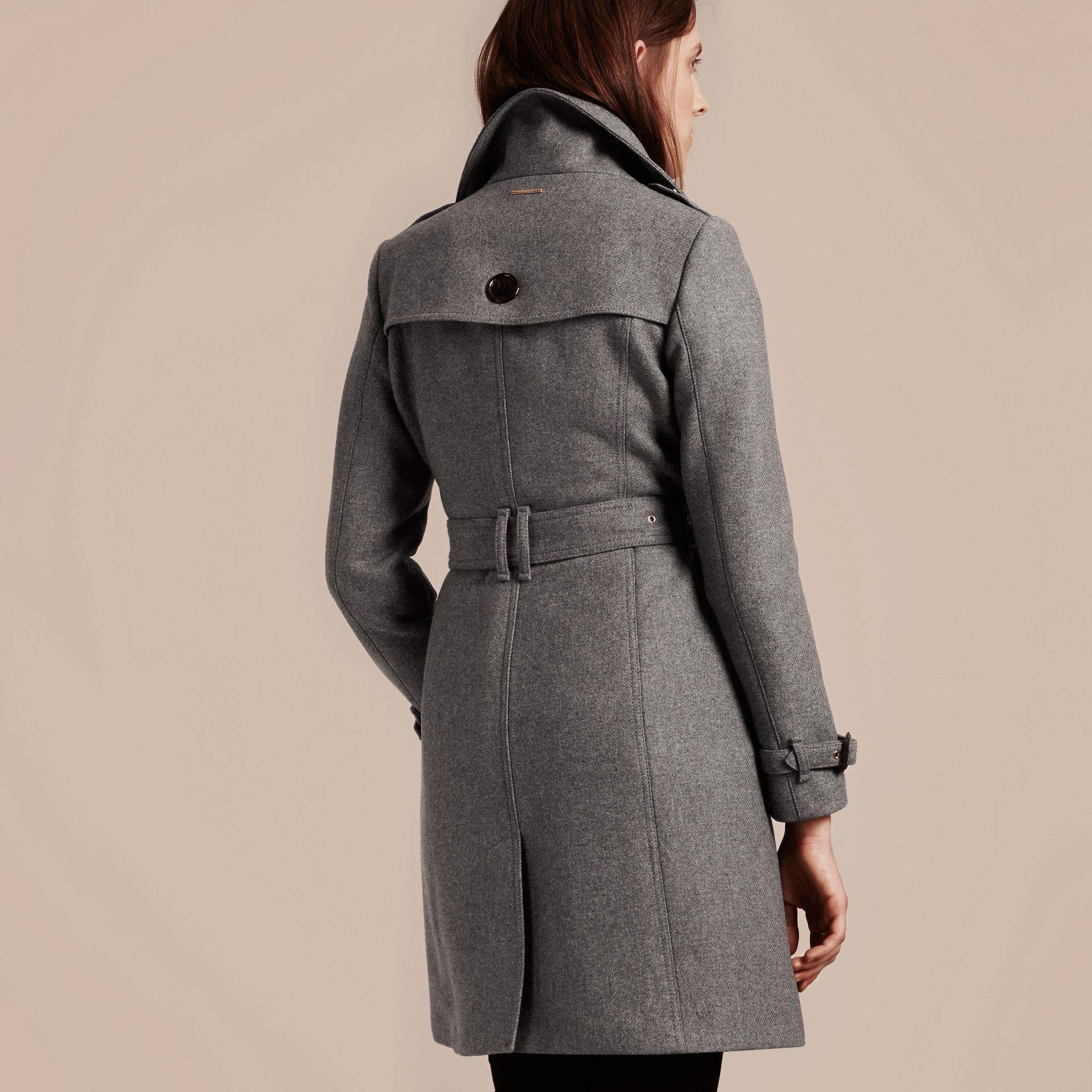 Technical Wool Cashmere Funnel Neck Coat in Steel Grey Melange - gallery image 3