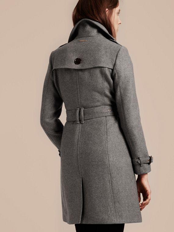 Technical Wool Cashmere Funnel Neck Coat in Steel Grey Melange - Women | Burberry - cell image 2