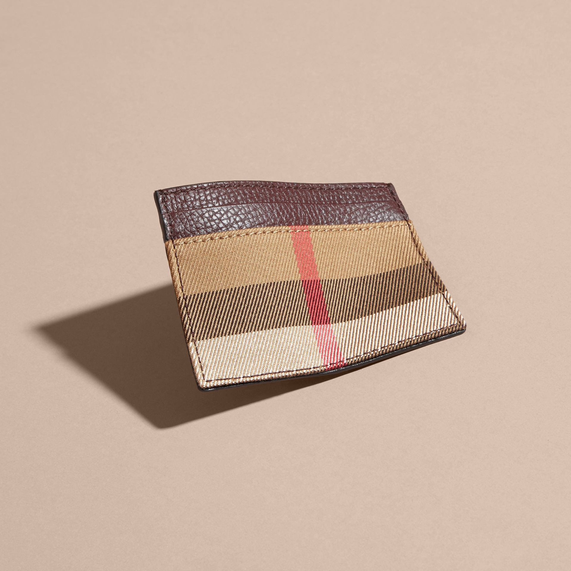 House Check and Grainy Leather Card Case in Wine | Burberry - gallery image 3