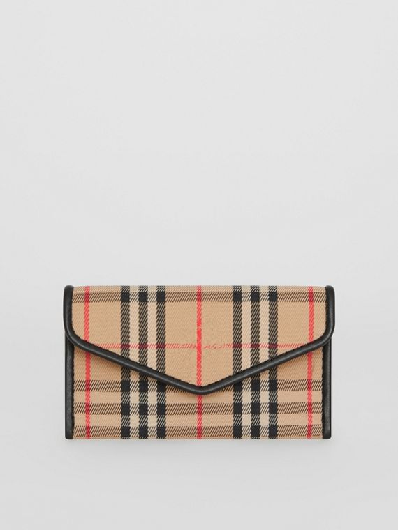 1983 Check and Leather Envelope Card Case in Black