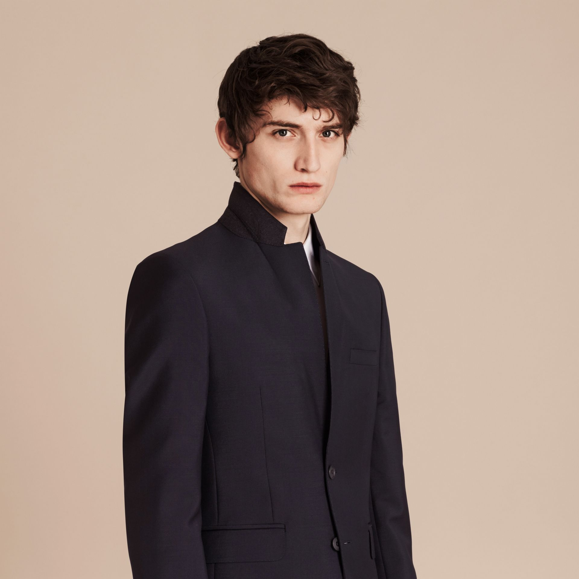 Slim Fit Wool Mohair Part-canvas Suit in True Navy - Men | Burberry - gallery image 6