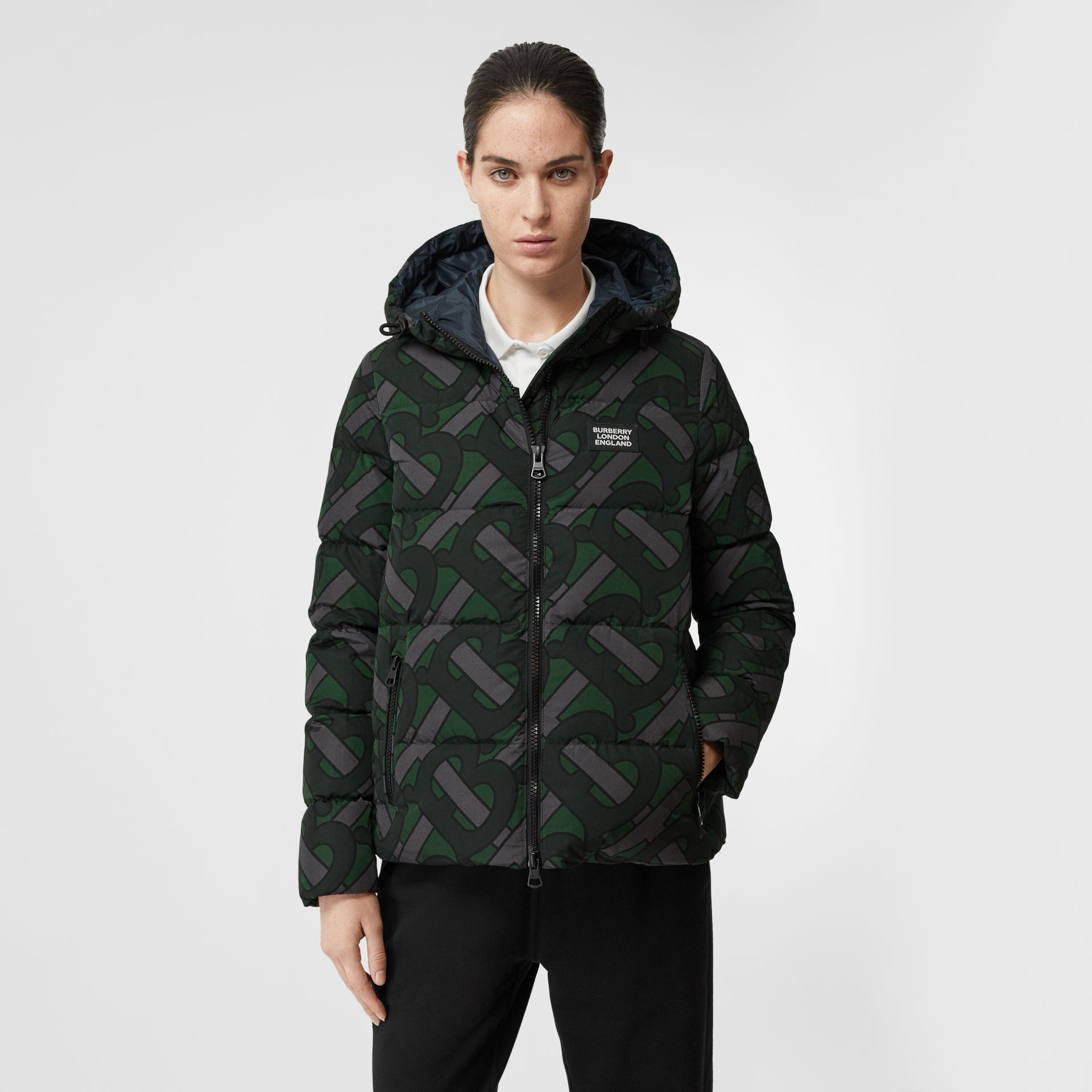 Monogram Print Puffer Jacket in Forest Green | Burberry - gallery image 6