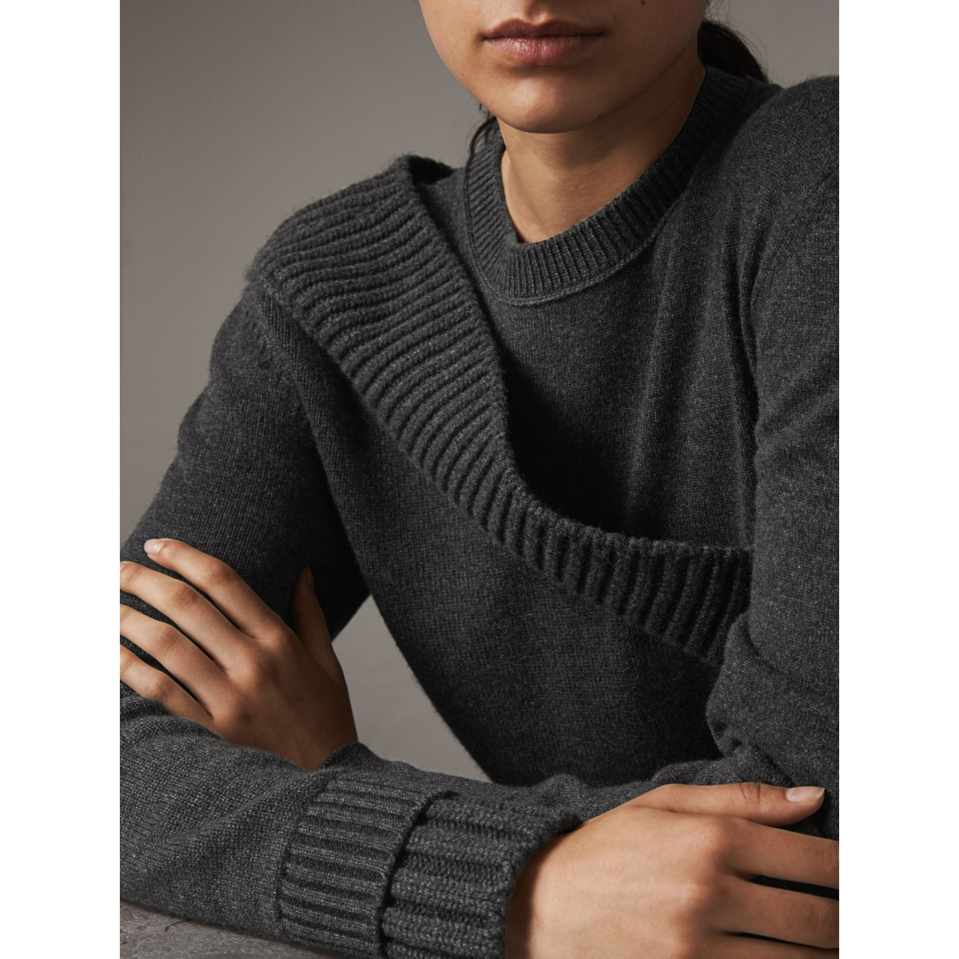 Rib Knit Detail Cashmere Asymmetric Sweater in Charcoal - Women | Burberry - gallery image 1