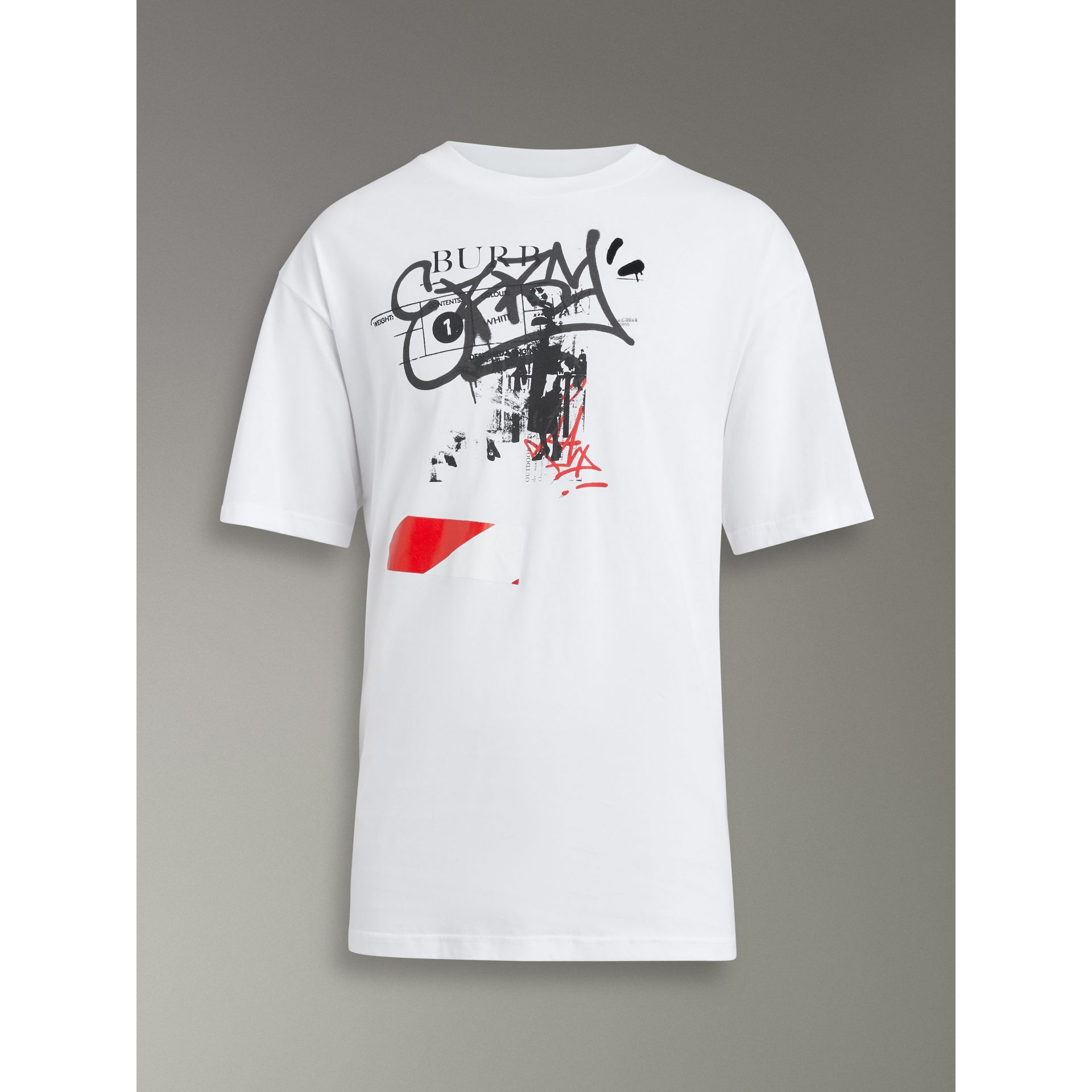 Graffitied Ticket Print Cotton T-shirt in White - Men | Burberry United States - gallery image 3