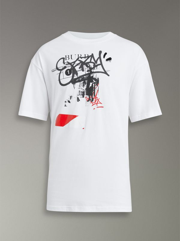 Graffitied Ticket Print Cotton T-shirt in White - Men | Burberry United States - cell image 3