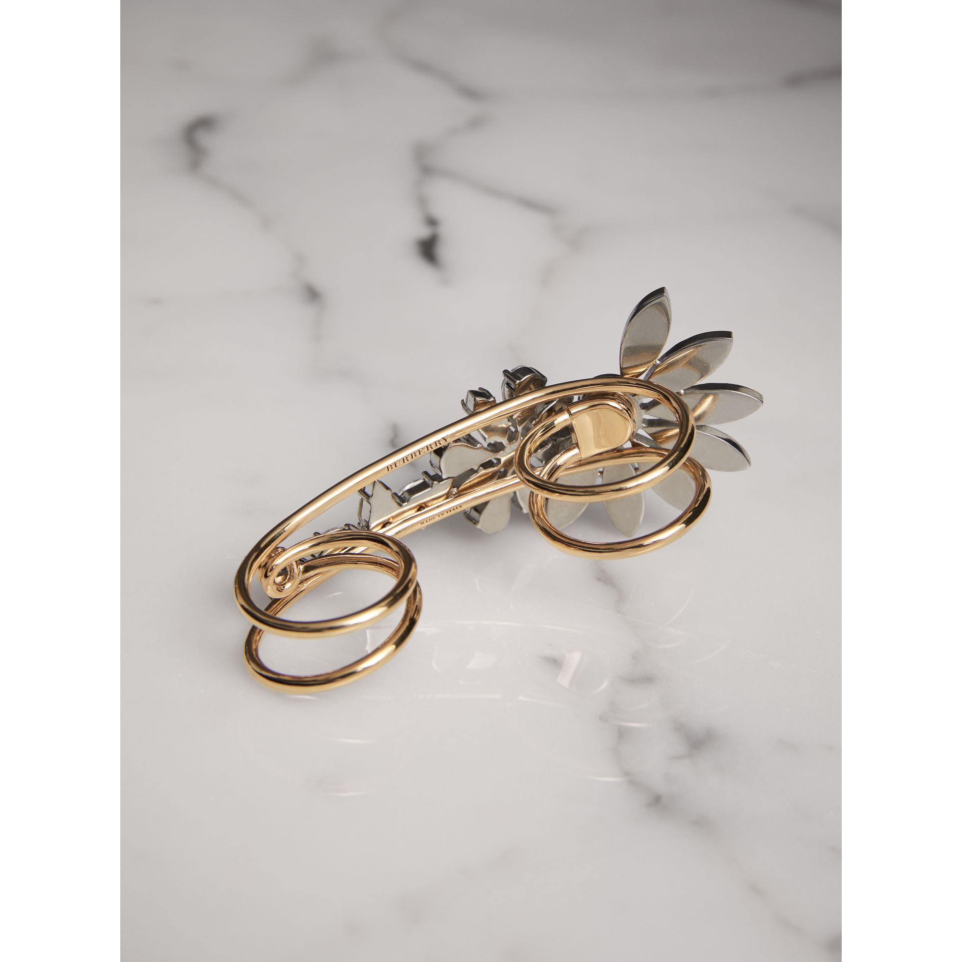 Crystal Daisy Gold-plated Double Ring - Women | Burberry United States - gallery image 3