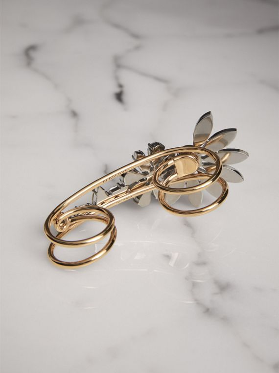 Crystal Daisy Brass Double Ring - Women | Burberry - cell image 3