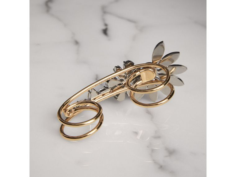 Crystal Daisy Brass Double Ring - Women | Burberry United Kingdom - cell image 2