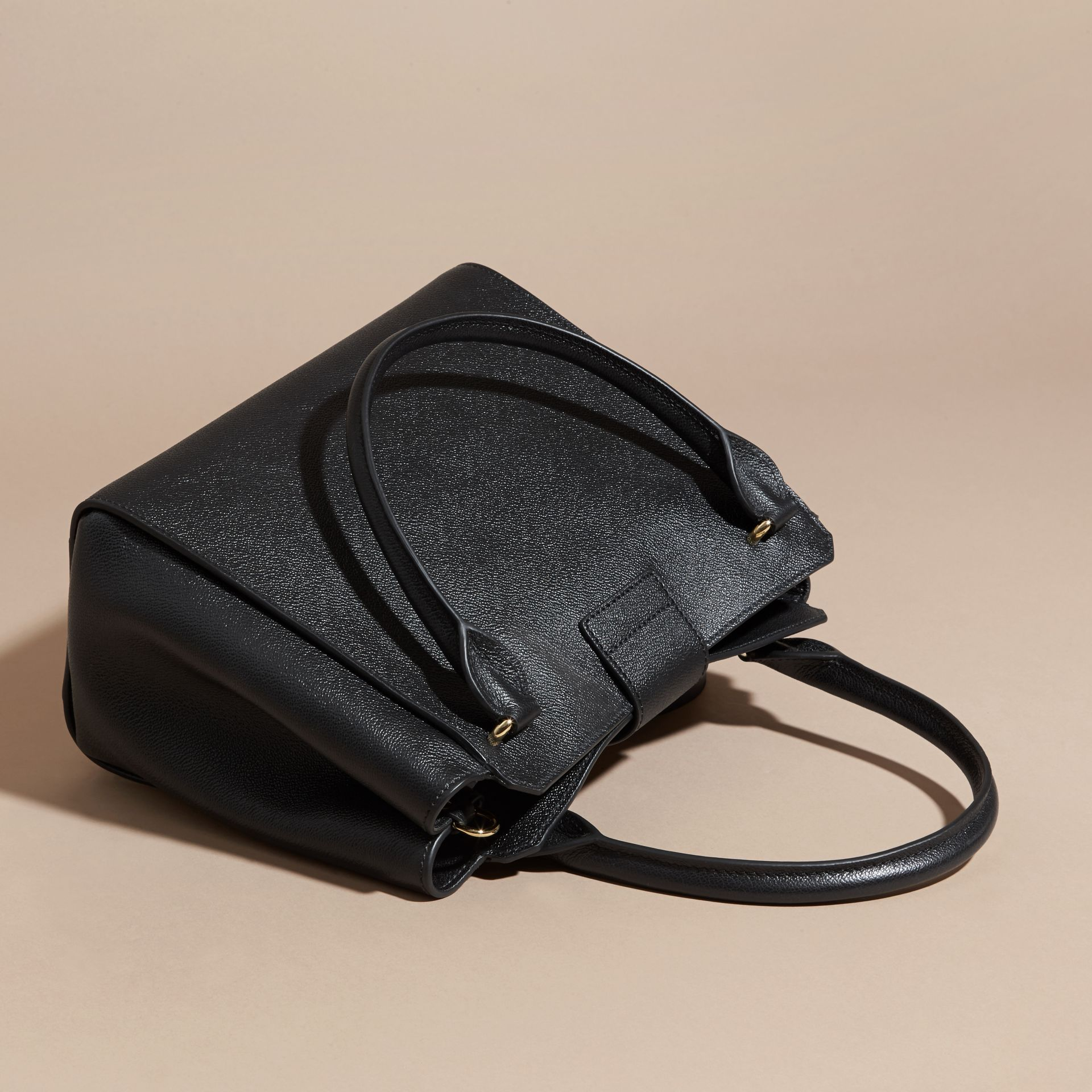 Black The Medium Buckle Tote in Grainy Leather Black - gallery image 5