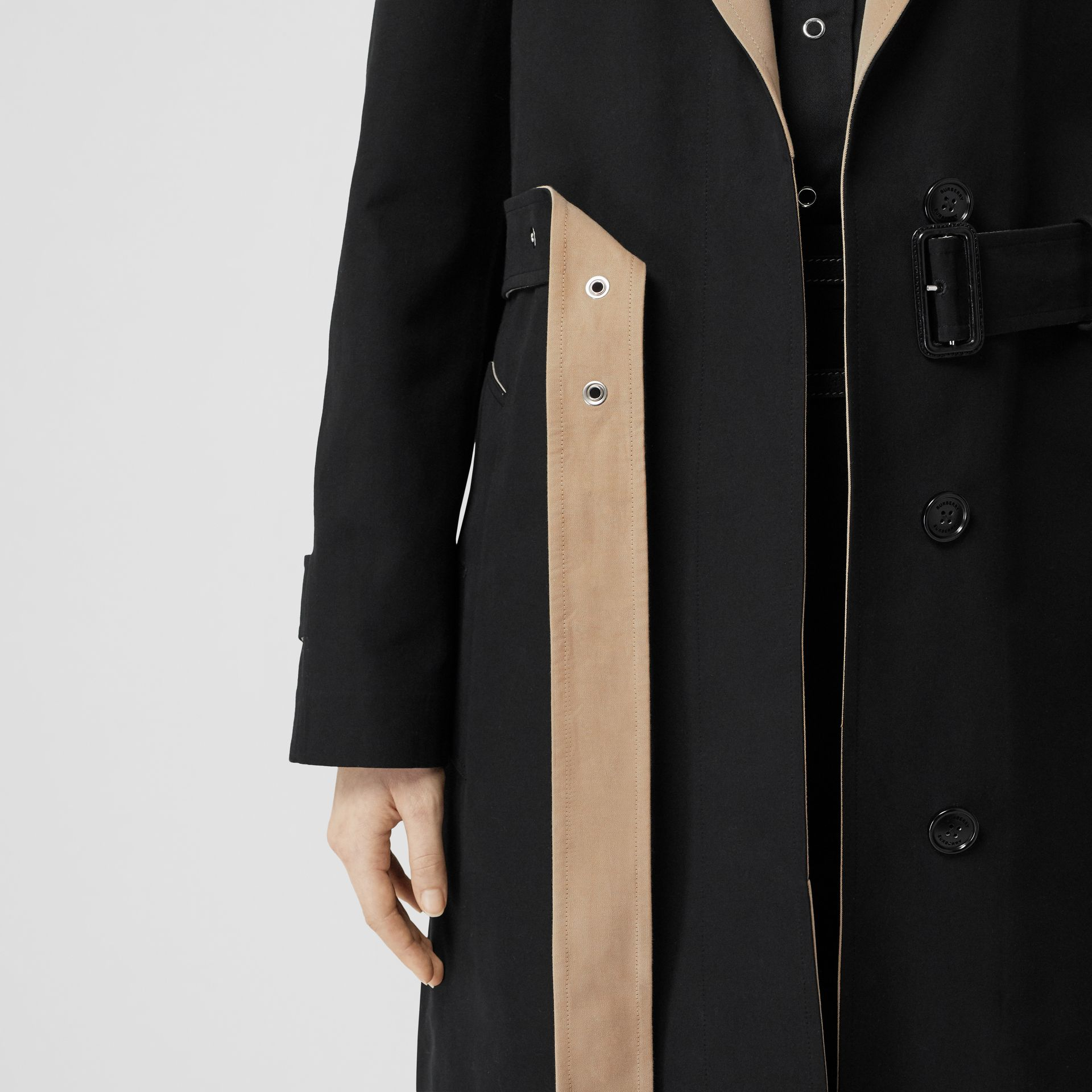 Two-tone Tropical Gabardine Belted Car Coat in Black/honey - Women | Burberry - gallery image 5