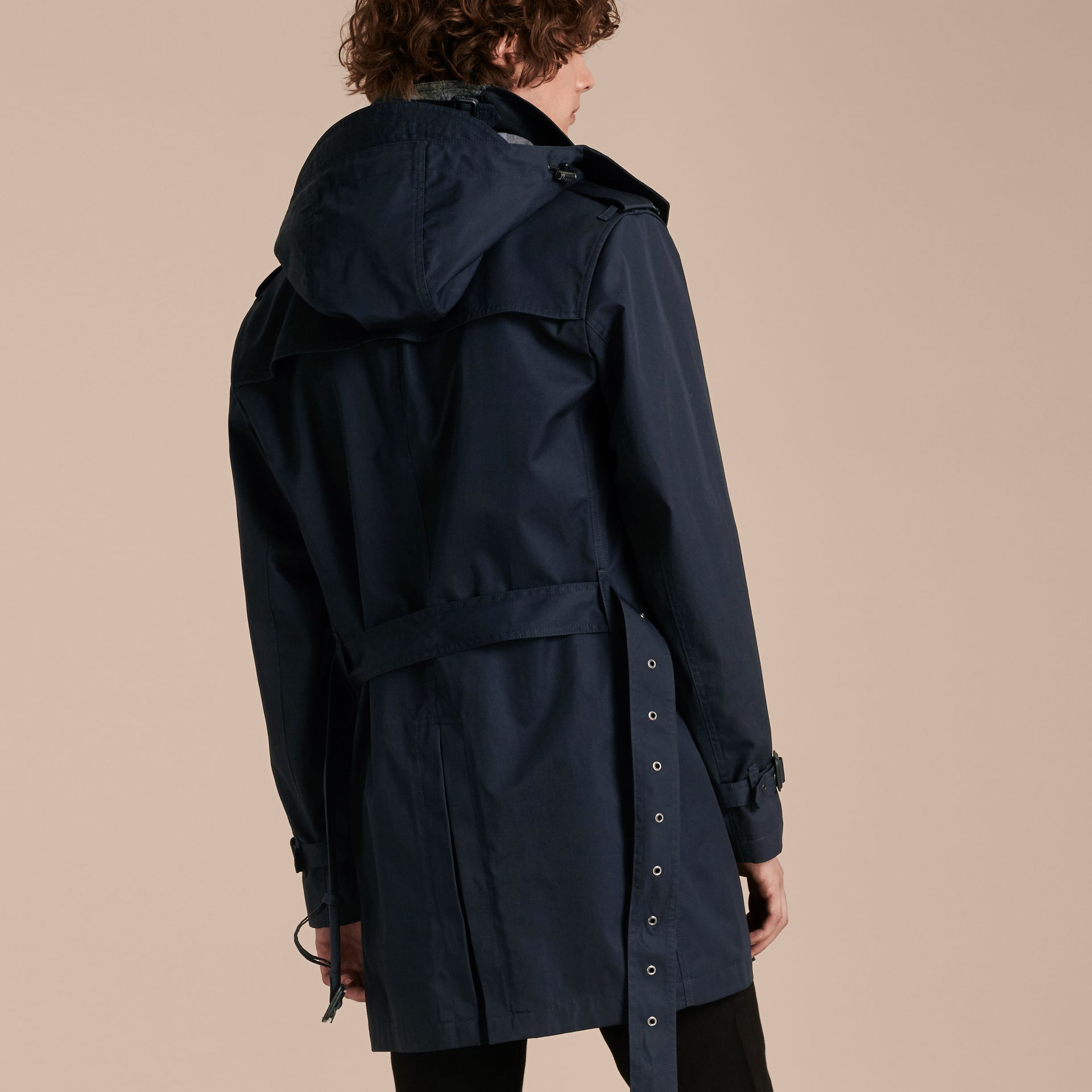 Ink Cotton Trench Coat with Detachable Hood Ink - gallery image 3
