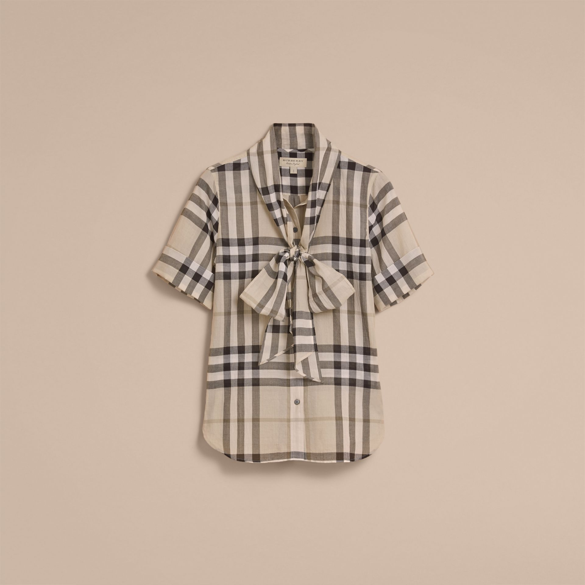 Short-sleeve Check Cotton Tie Neck Shirt in Chino - Women | Burberry - gallery image 4