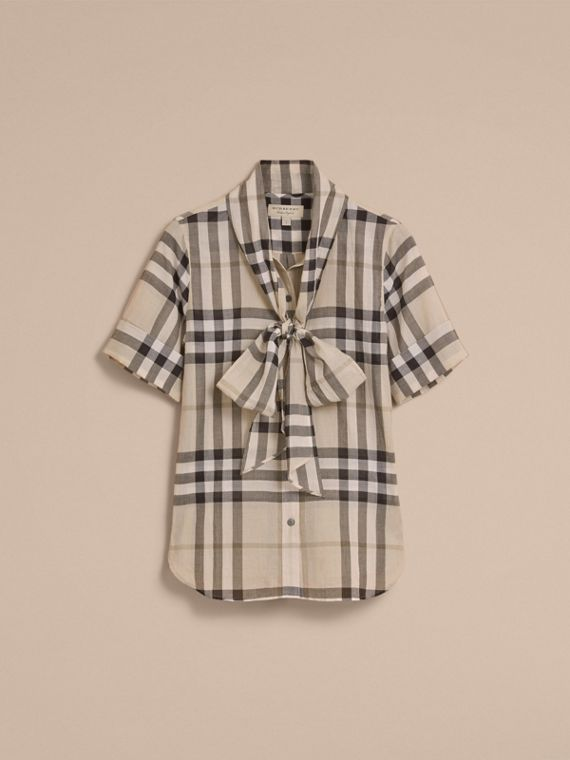 Short-sleeve Check Cotton Tie Neck Shirt in Chino - Women | Burberry - cell image 3