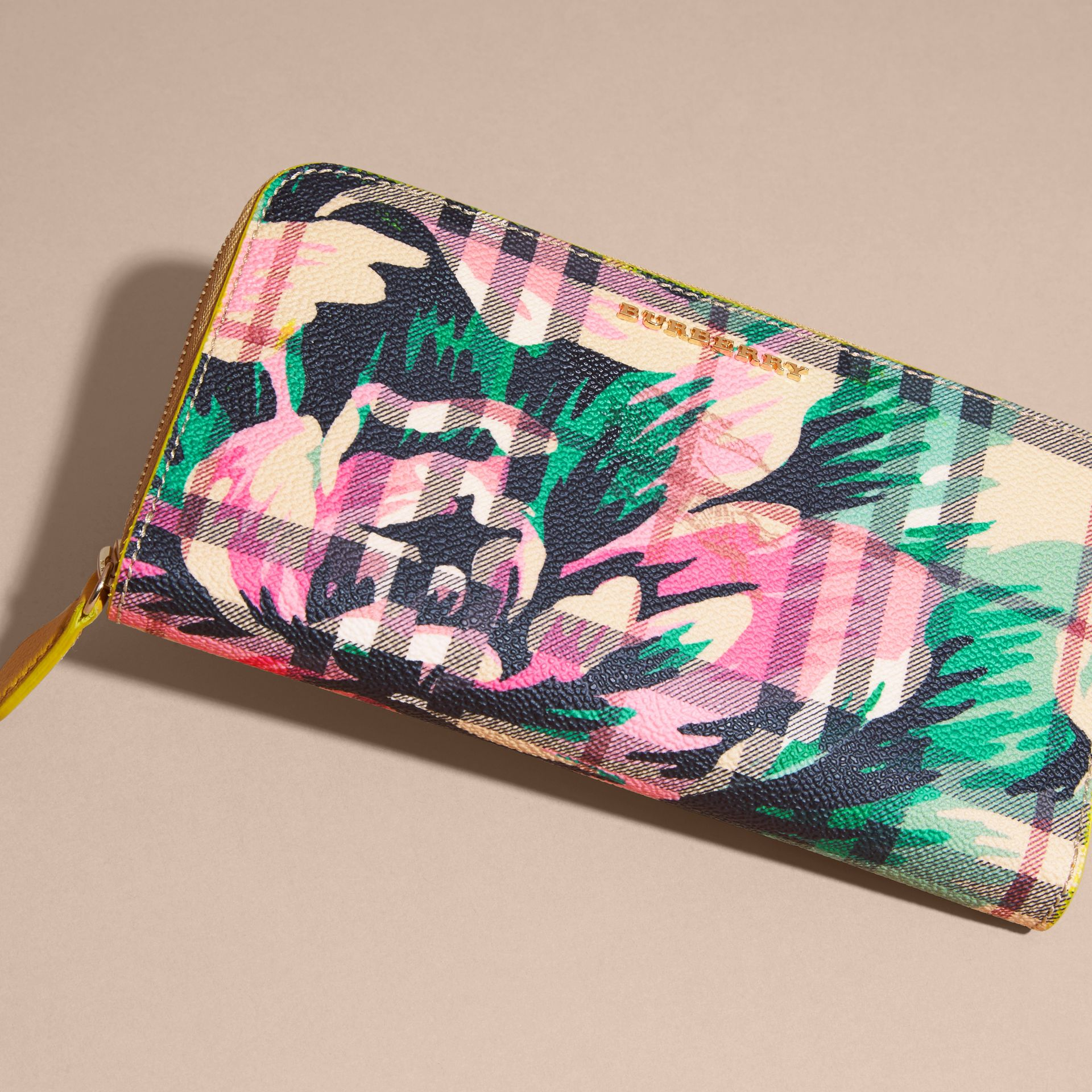 Larch yellow/emerald green Peony Rose Print Haymarket Check and Leather Ziparound Wallet - gallery image 3
