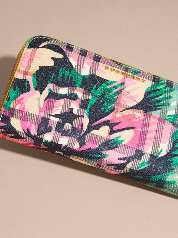 Larch yellow/emerald green Peony Rose Print Haymarket Check and Leather Ziparound Wallet - cell image 2