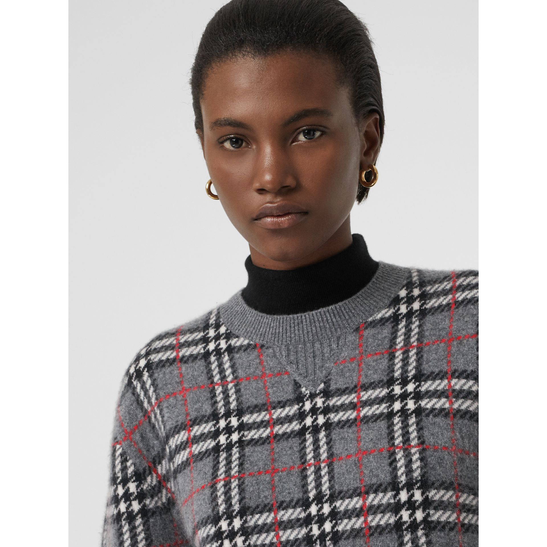 Check Cashmere Jacquard Sweater in Mid Grey Melange - Women | Burberry United Kingdom - gallery image 1