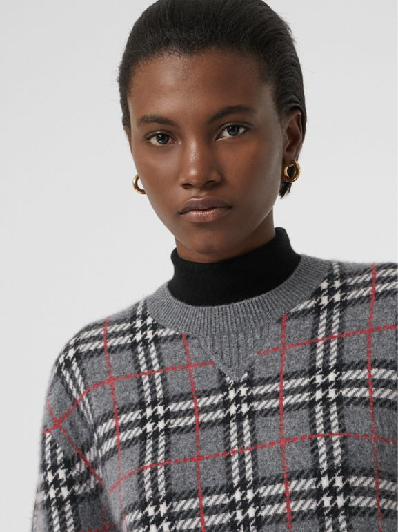 Check Cashmere Jacquard Sweater in Mid Grey Melange - Women | Burberry United Kingdom - cell image 1