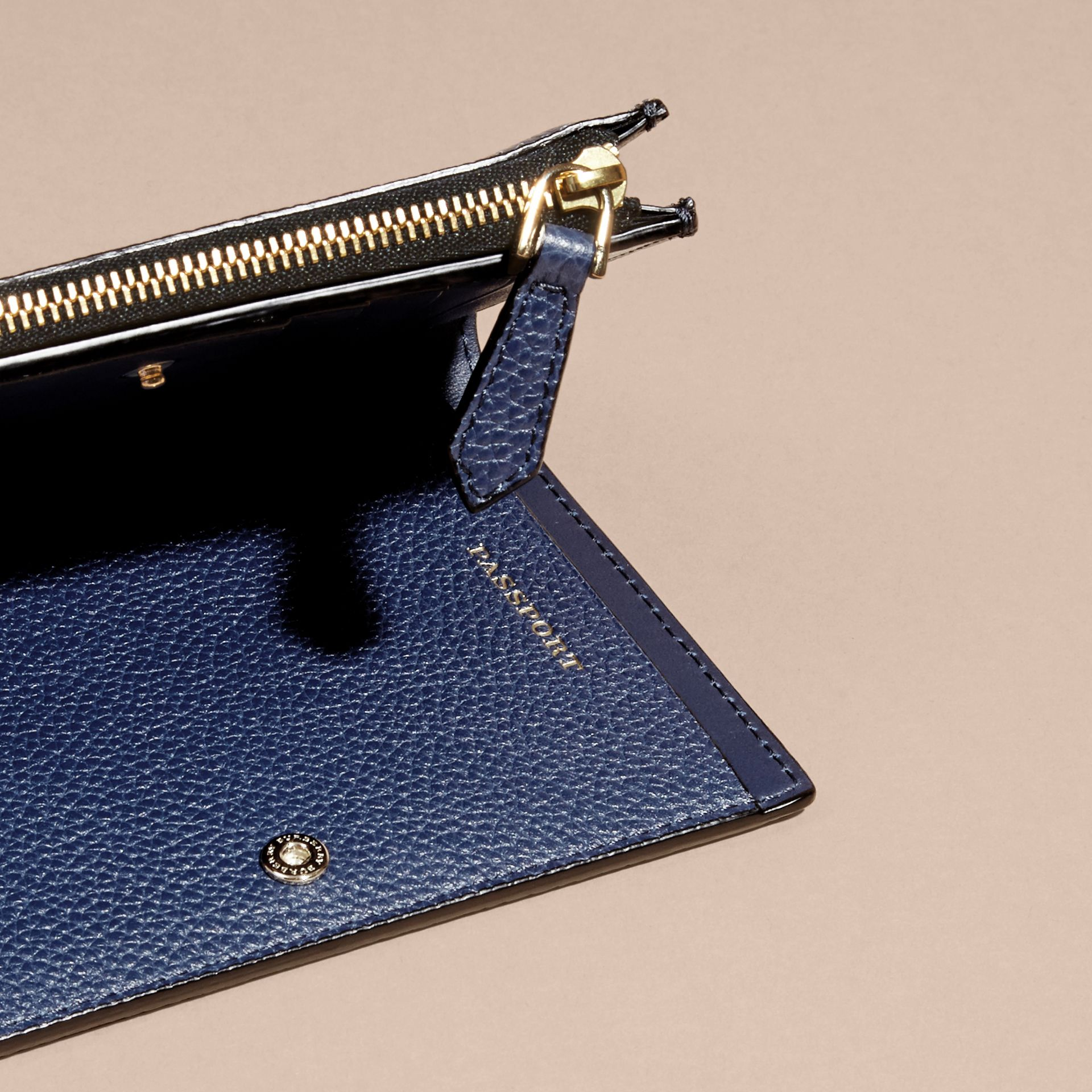 Leather Passport Wallet in Bright Navy | Burberry - gallery image 4