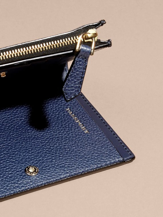 Leather Passport Wallet in Bright Navy | Burberry - cell image 3