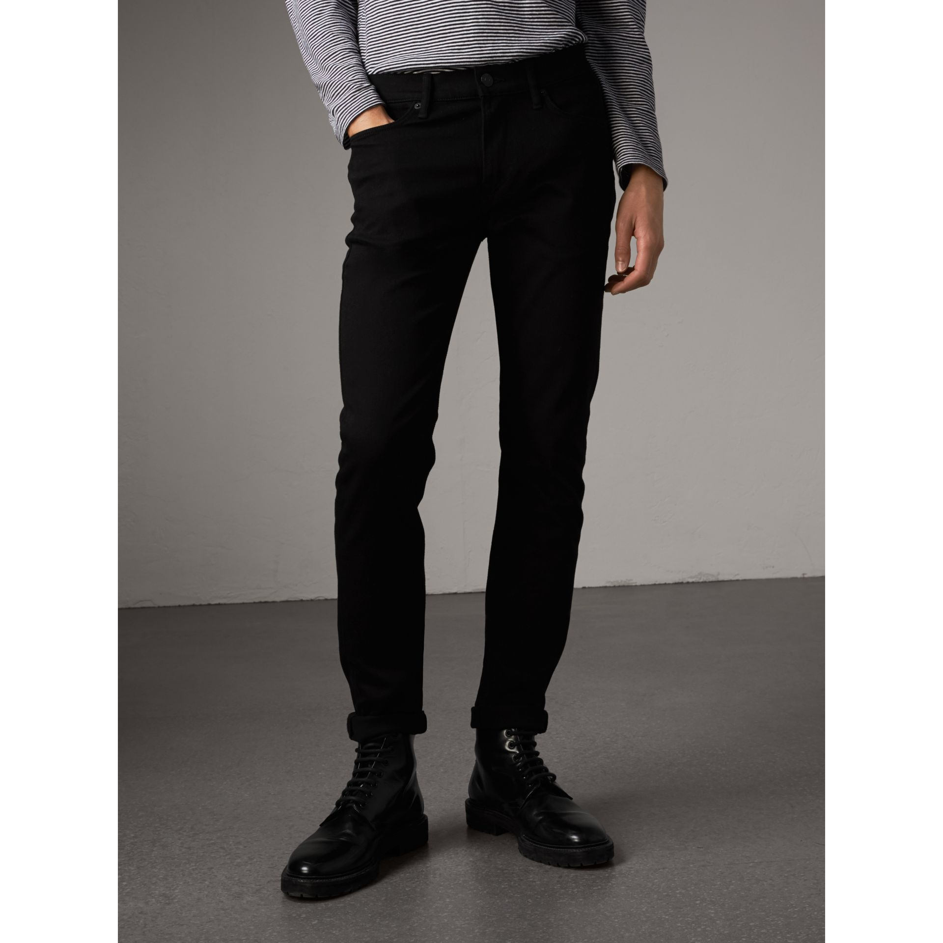 Slim Fit Stretch-denim Jeans in Black - Men | Burberry United Kingdom - gallery image 1