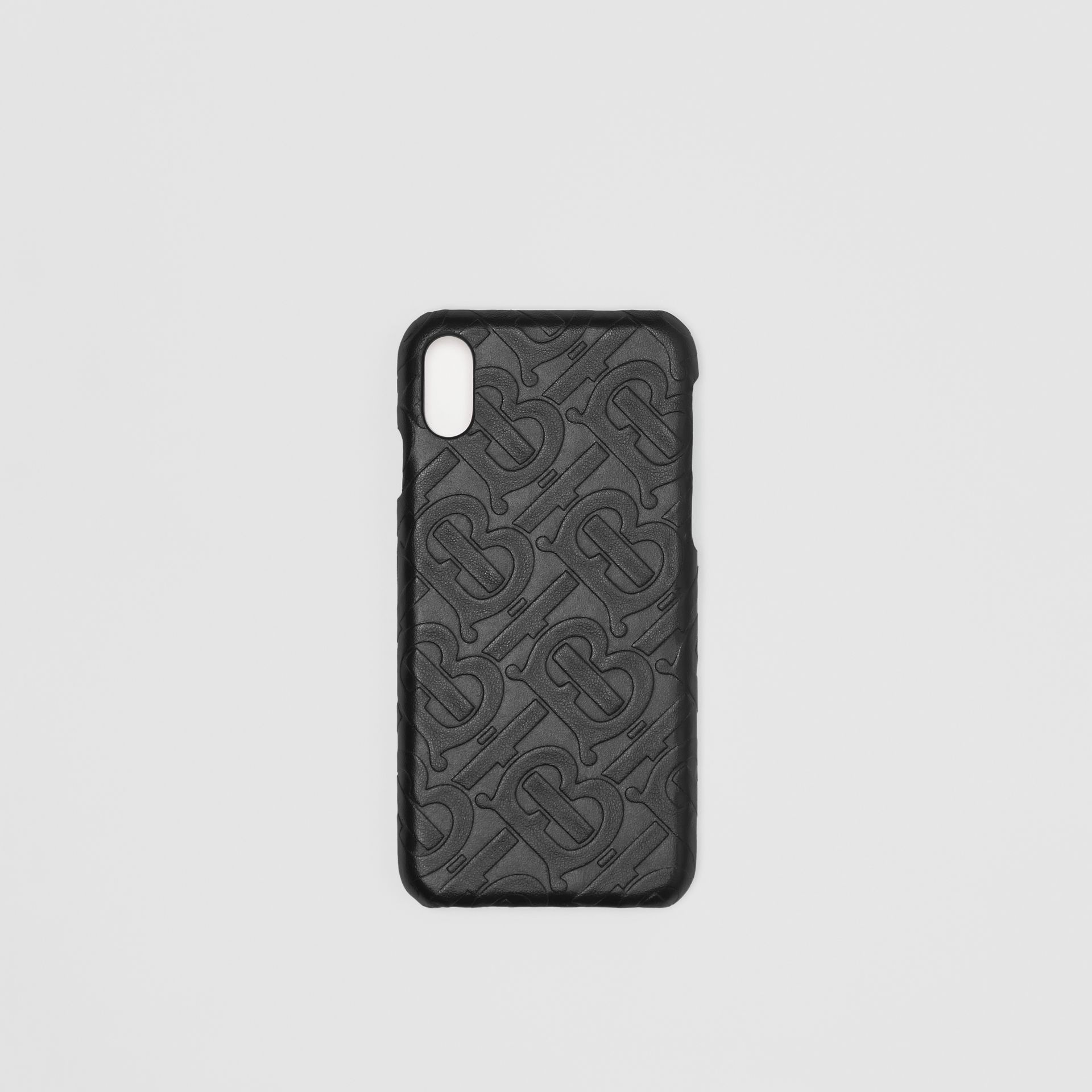 Monogram Leather iPhone X/XS Case in Black | Burberry - gallery image 0