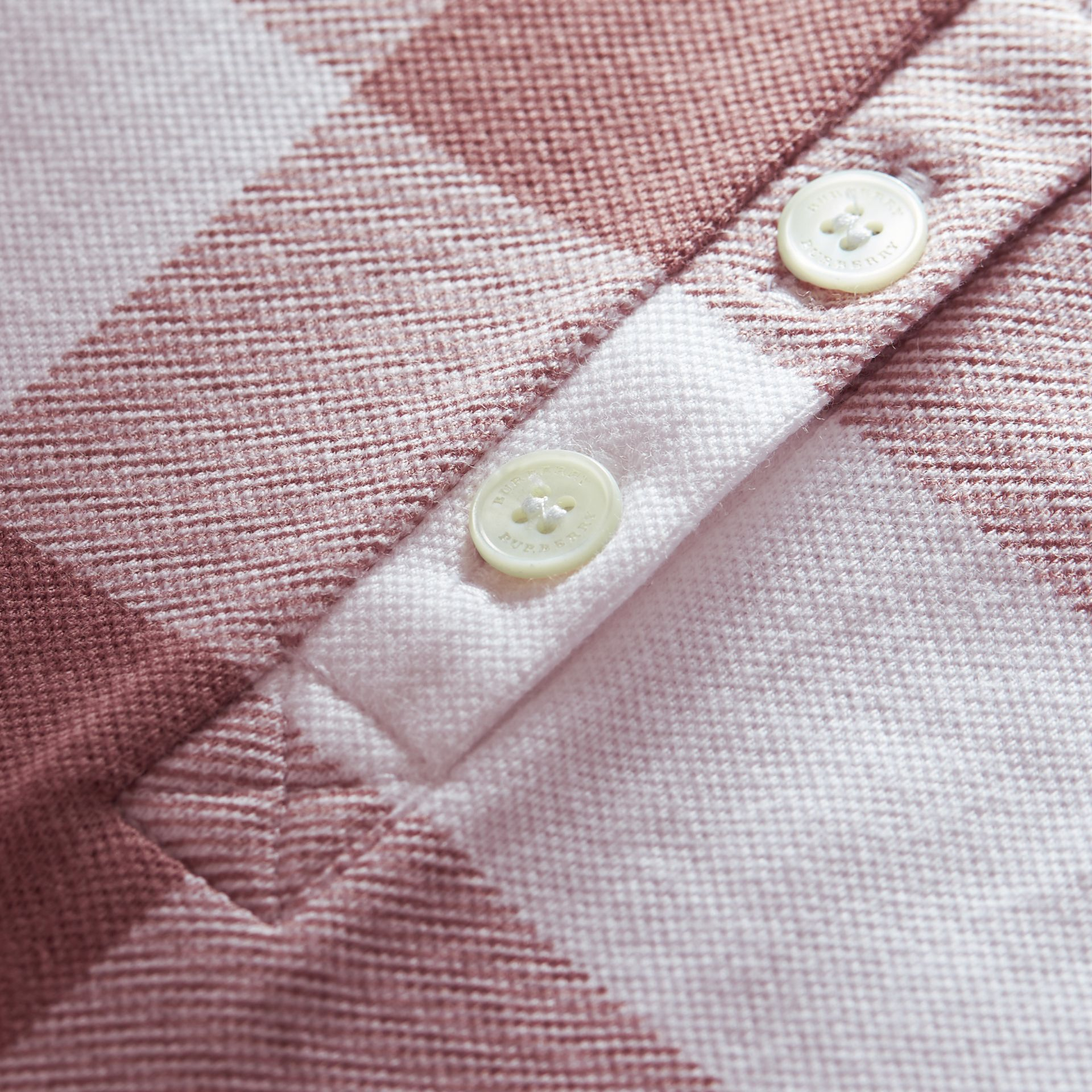 Check Stretch Cotton Piqué Polo Shirt in Antique Rose - Women | Burberry - gallery image 1