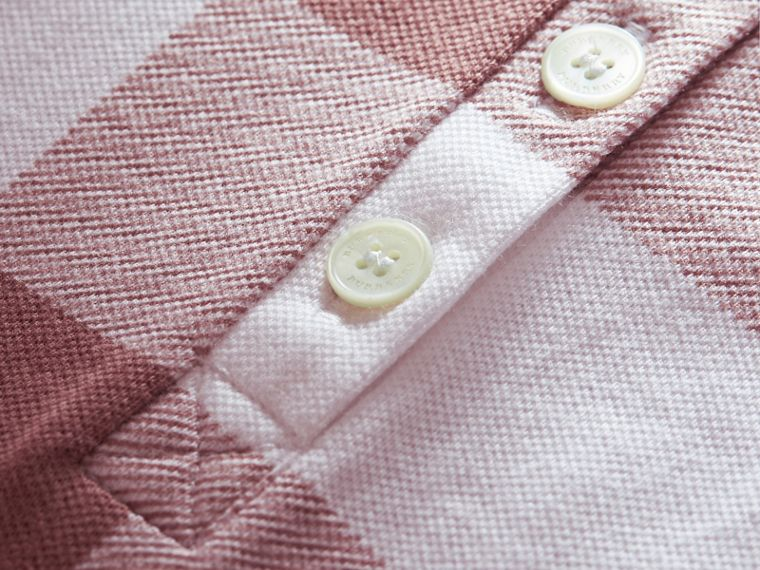 Check Stretch Cotton Piqué Polo Shirt in Antique Rose - Women | Burberry - cell image 1