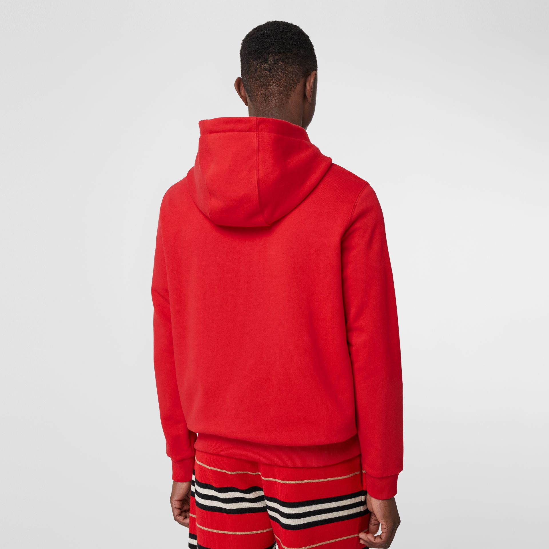 Logo Print Cotton Hoodie in Bright Red - Men | Burberry - gallery image 2