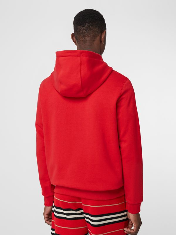 Logo Print Cotton Hoodie in Bright Red - Men | Burberry - cell image 2