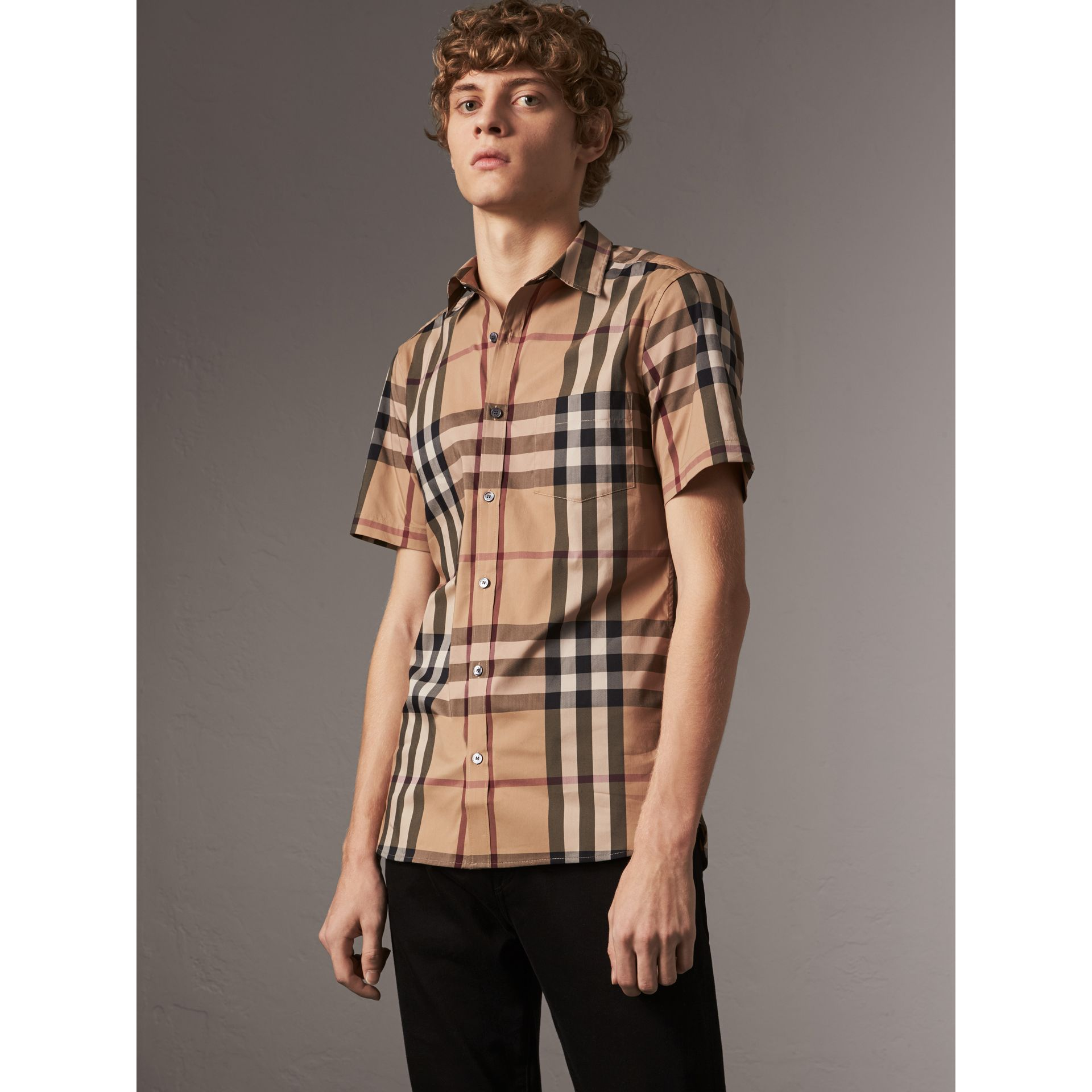 Short-sleeved Check Stretch Cotton Shirt in Camel - Men | Burberry - gallery image 1