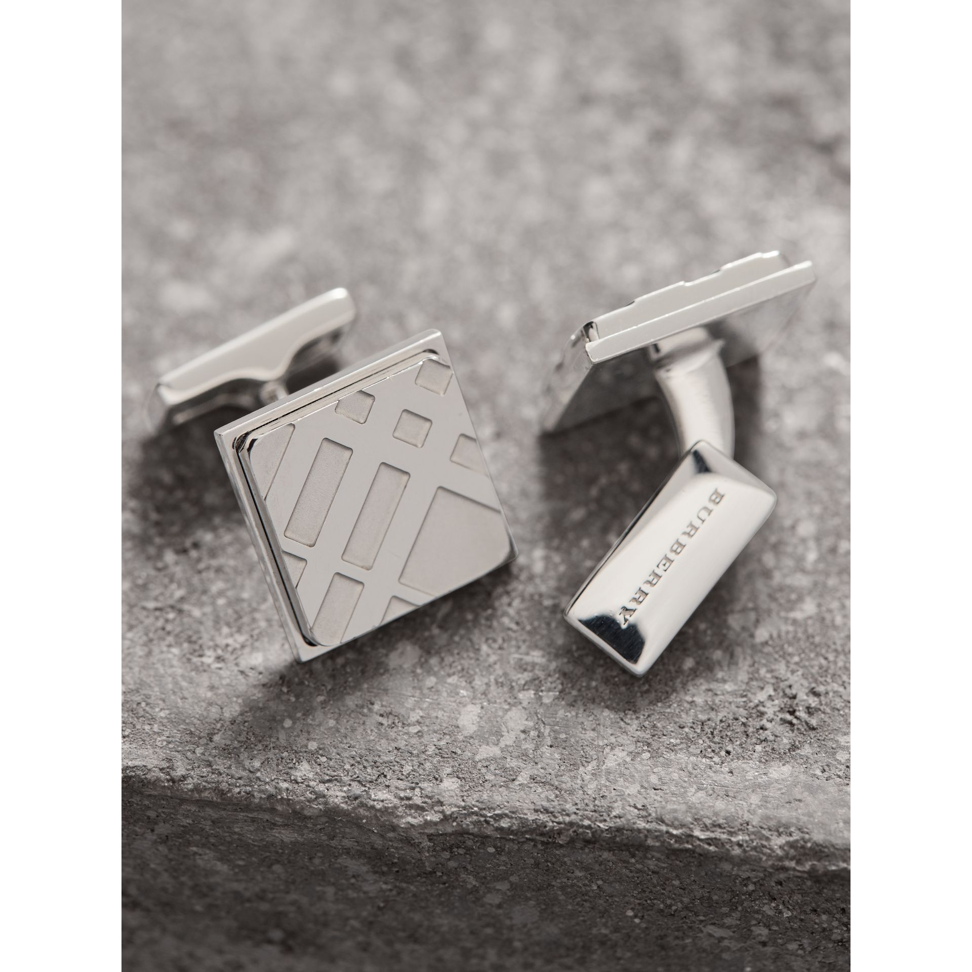 Check-engraved Square Cufflinks in Silver - Men | Burberry - gallery image 2