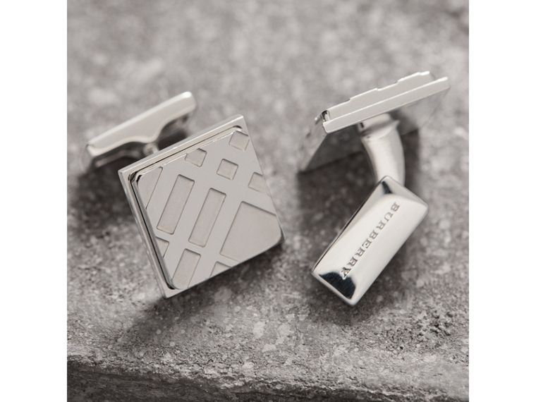 Check-engraved Square Cufflinks in Silver - Men | Burberry - cell image 1