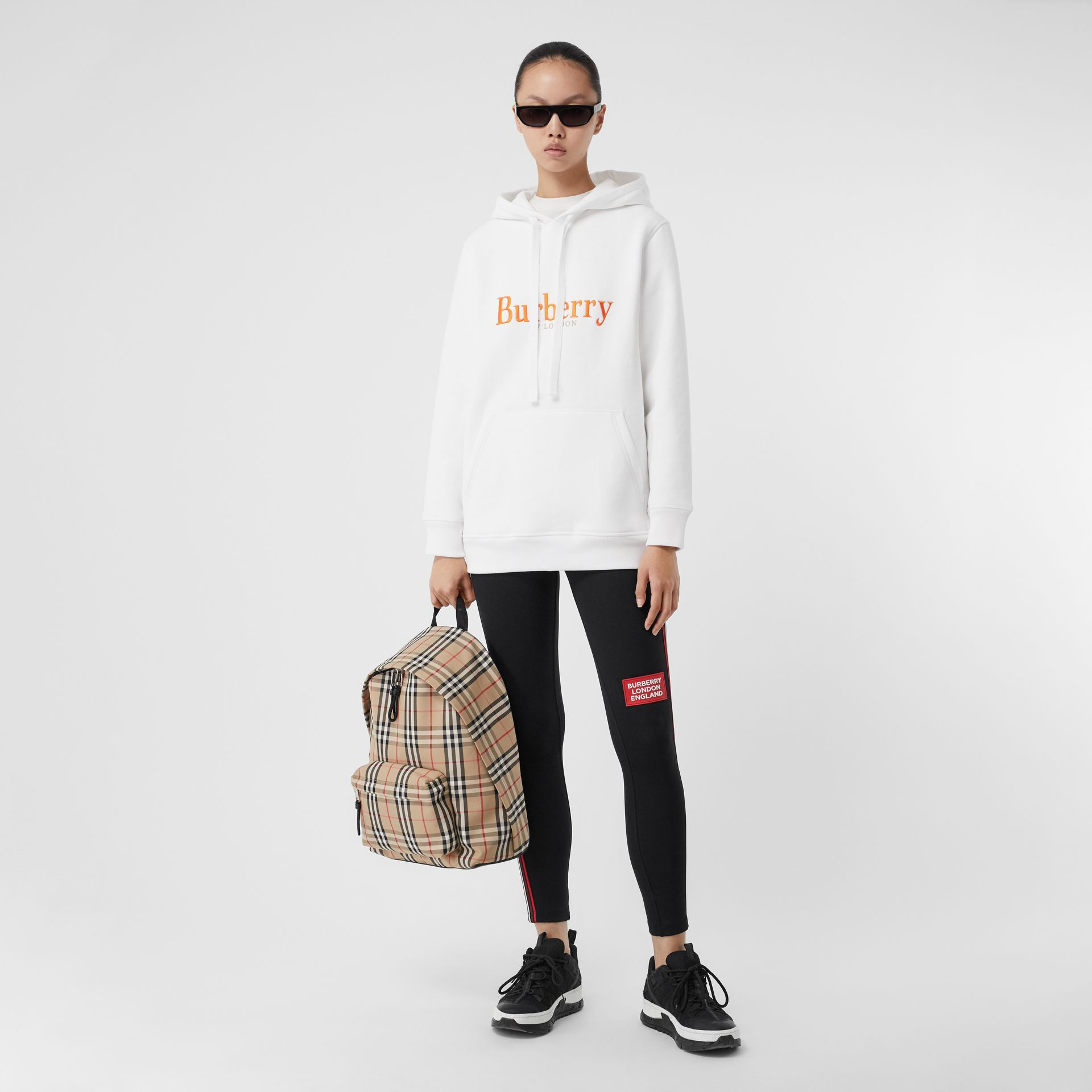 Embroidered Archive Logo Jersey Hoodie in White - Women | Burberry United Kingdom - gallery image 0