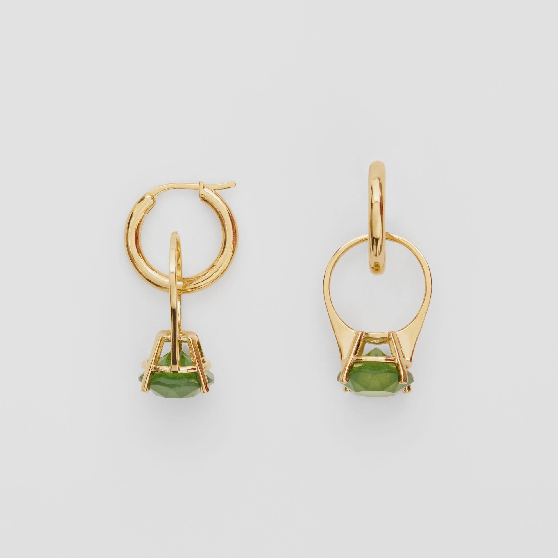Crystal Ring Detail Gold-plated Hoop Earrings in Light Gold/jade - Women | Burberry - gallery image 3
