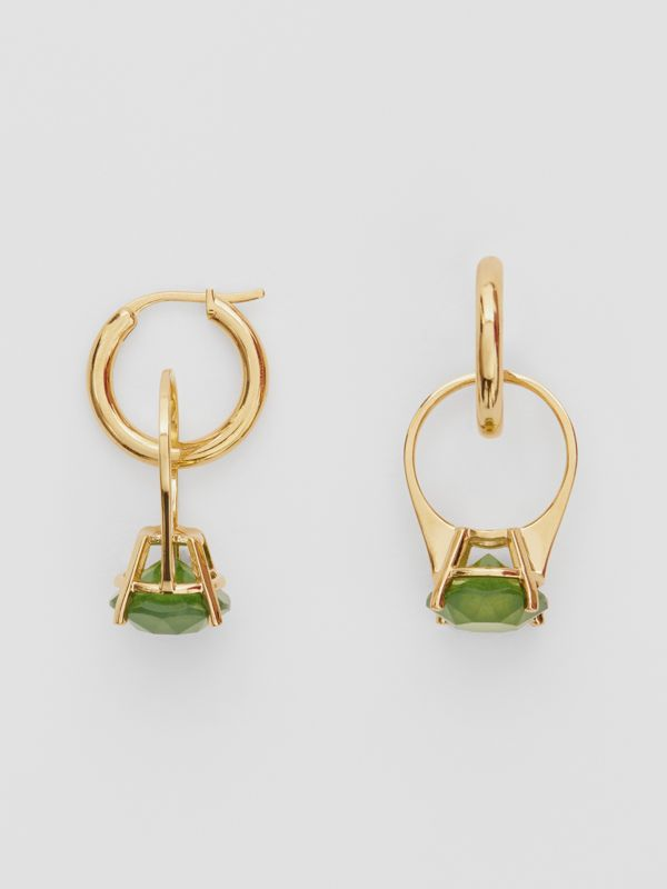 Crystal Ring Detail Gold-plated Hoop Earrings in Light Gold/jade - Women | Burberry - cell image 3