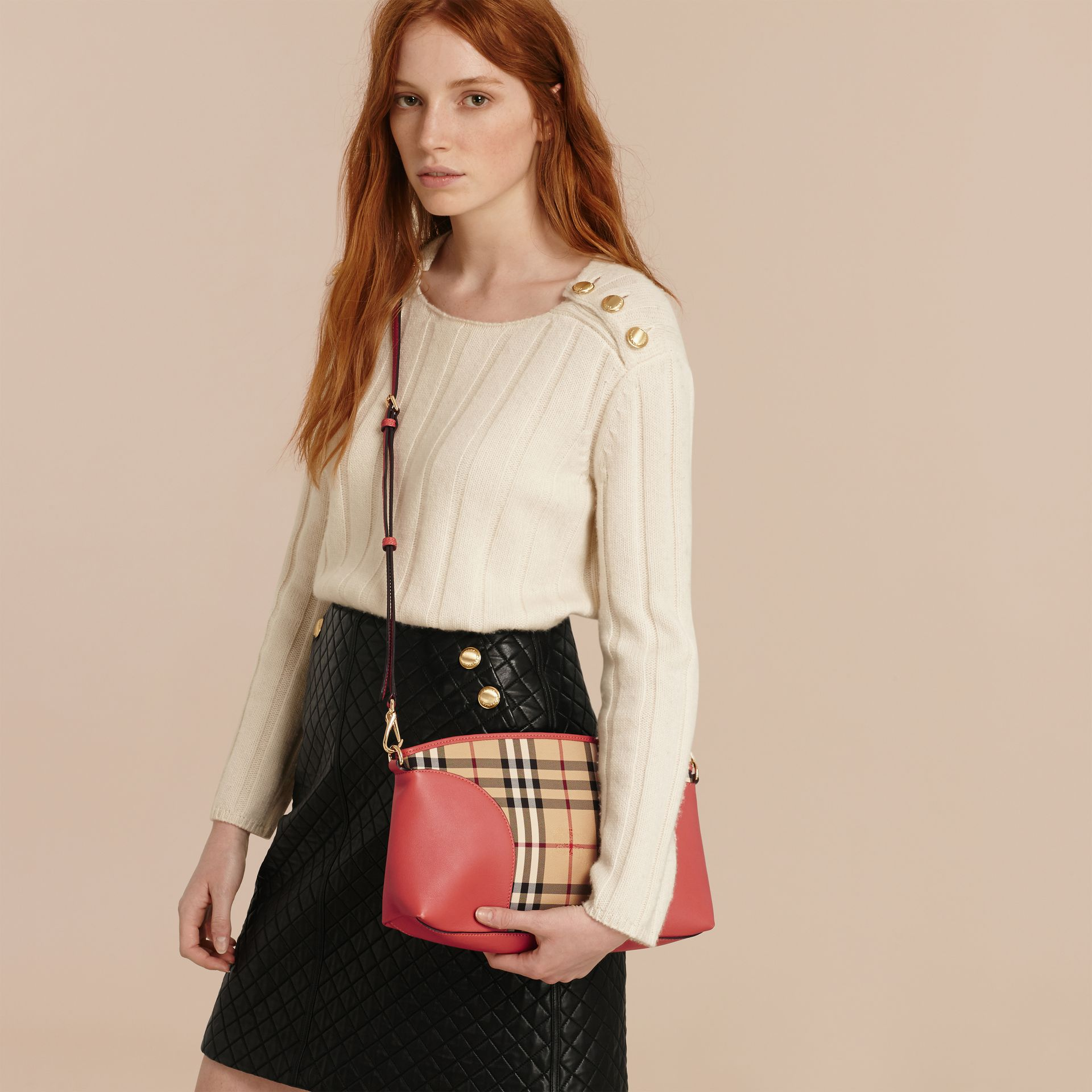 Horseferry Check and Leather Clutch Bag in Honey/antique Rose - gallery image 4