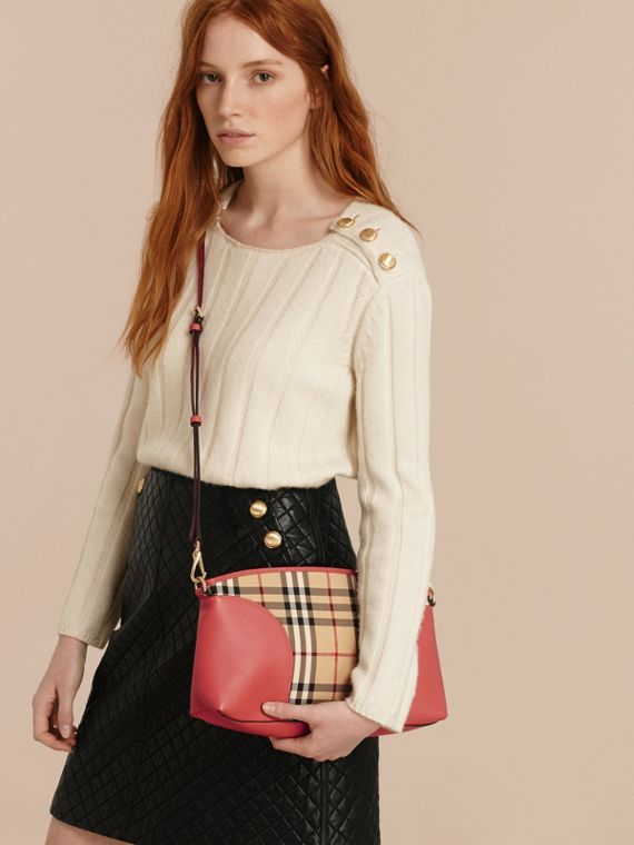 Horseferry Check and Leather Clutch Bag in Honey/antique Rose - cell image 3
