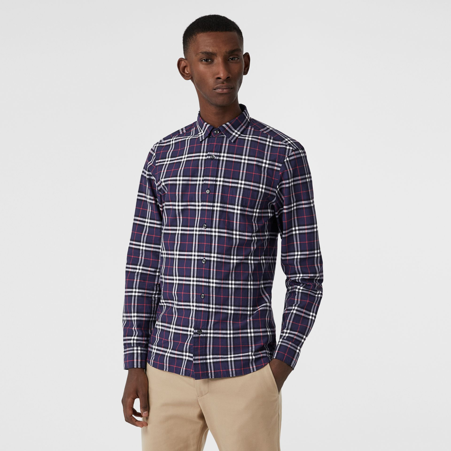 Check Cotton Shirt in Navy - Men | Burberry - gallery image 4