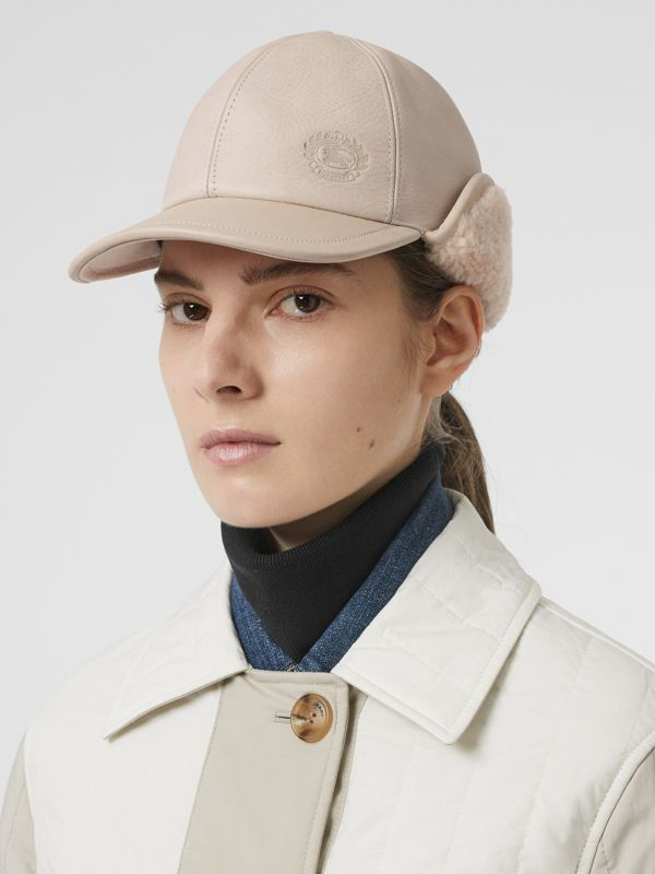 Leather and Shearling Cap in Limestone | Burberry United States - cell image 2