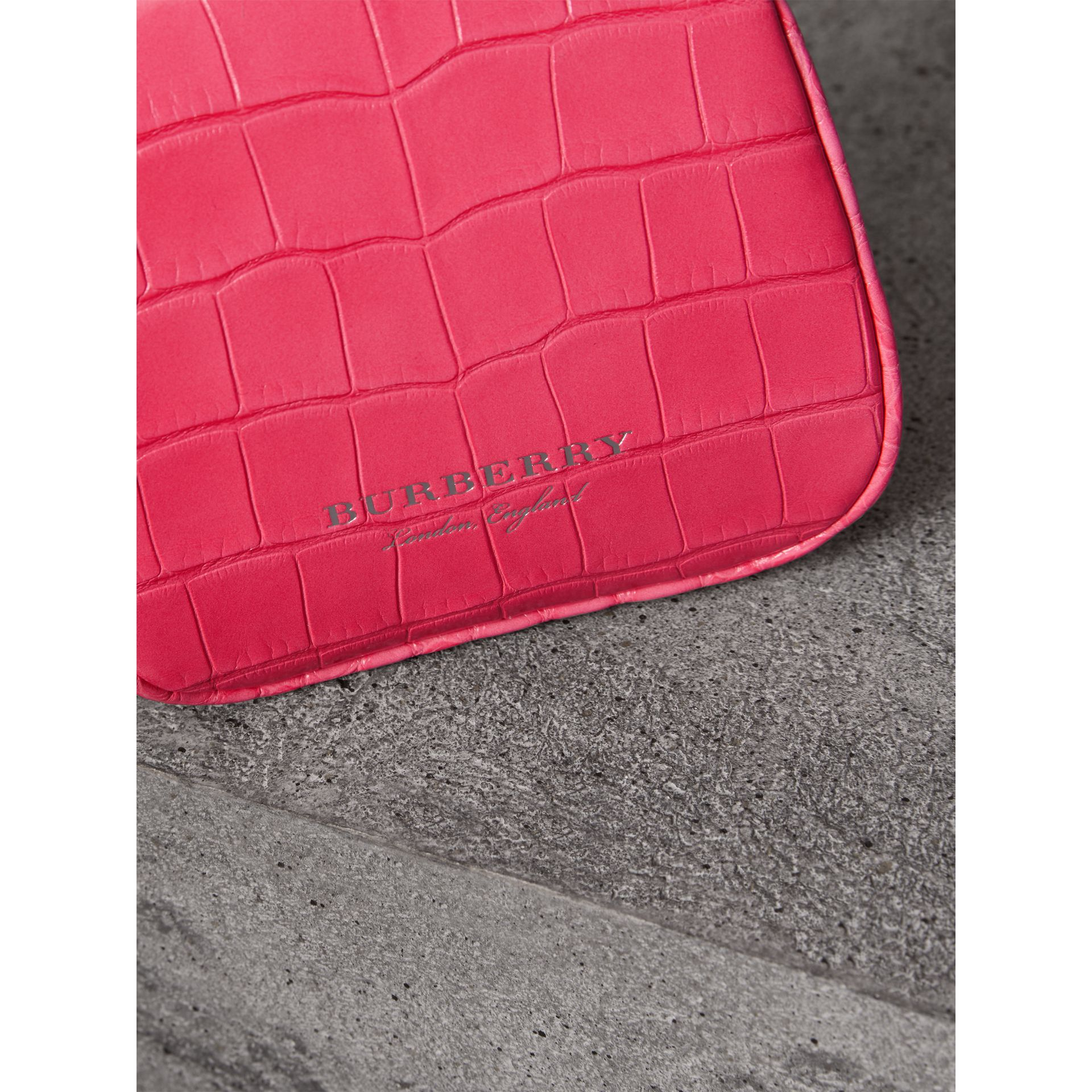 Mini Alligator Metal Frame Clutch Bag in Neon Pink - Women | Burberry Hong Kong - gallery image 1