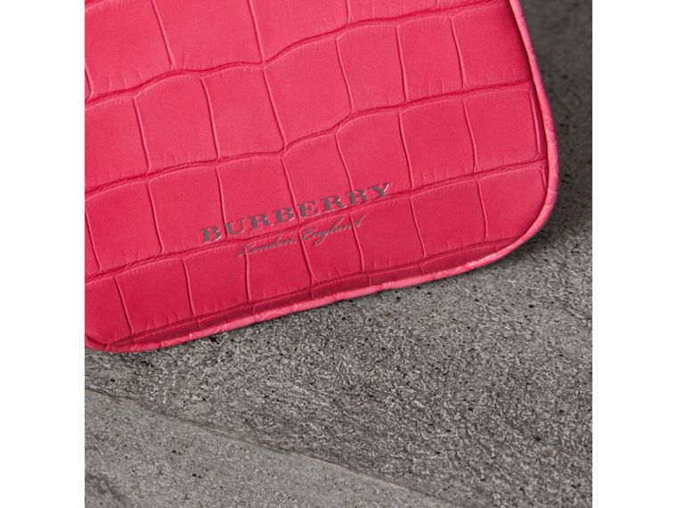 Mini Alligator Metal Frame Clutch Bag in Neon Pink - Women | Burberry Hong Kong - cell image 1
