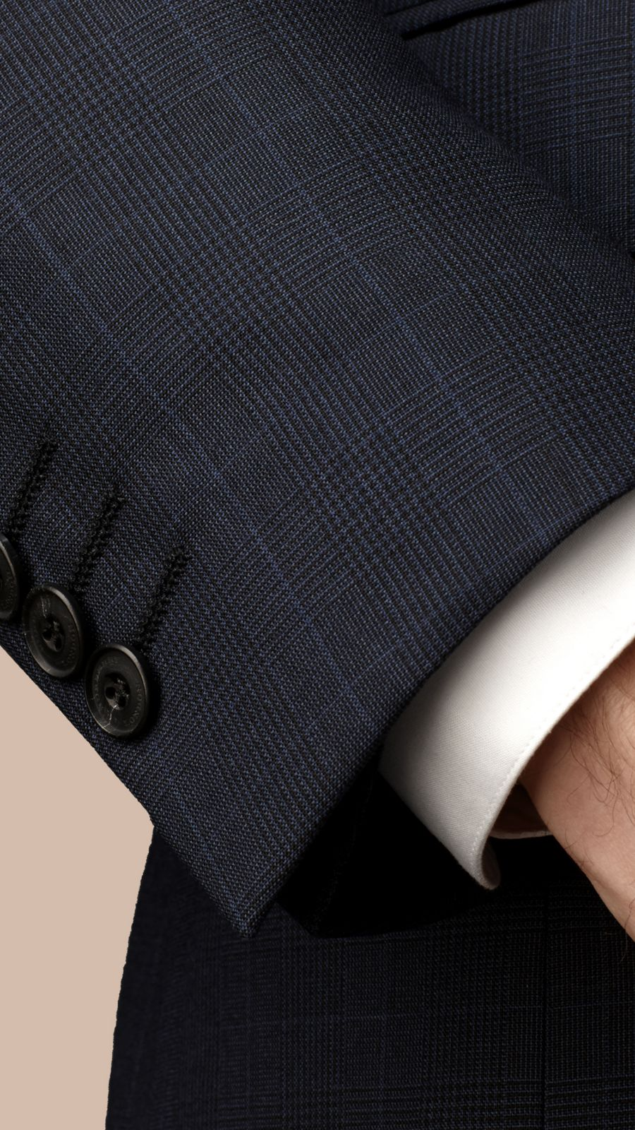 Navy Modern Fit Check Wool Part-canvas Suit Navy - Image 2