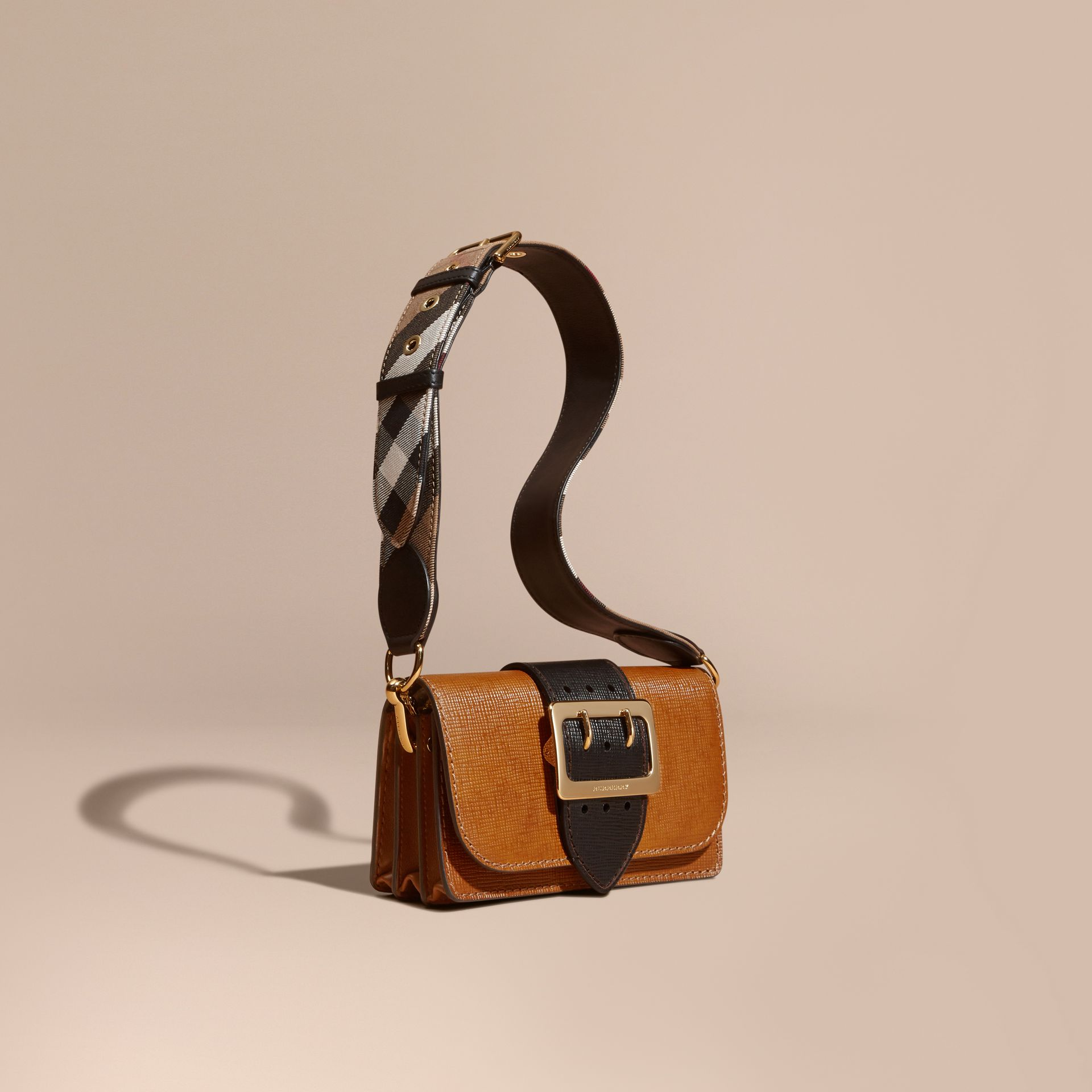 Tan / black The Small Buckle Bag in Grainy Leather - gallery image 1